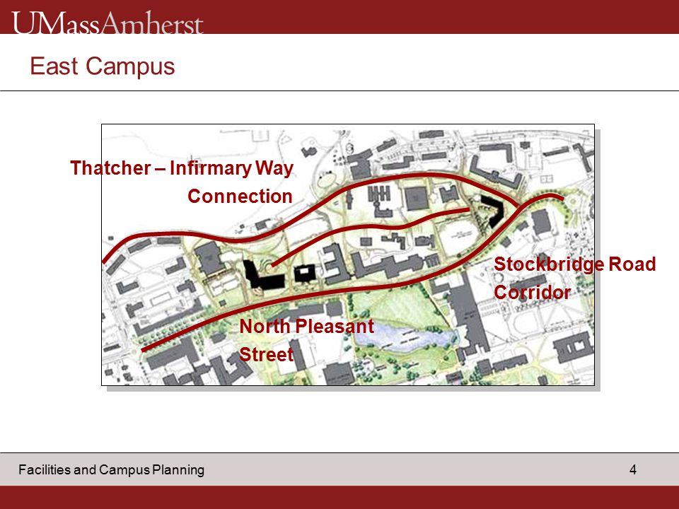 4 Facilities and Campus Planning East Campus Thatcher – Infirmary Way Connection Stockbridge Road Corridor North Pleasant Street