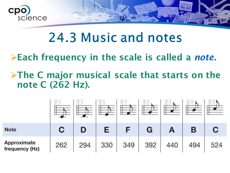 24.3 Music and notes  Each frequency in the scale is called a note.
