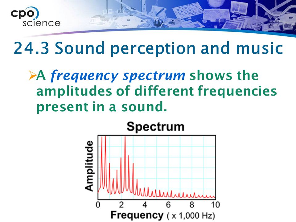 24.3 Sound perception and music  A frequency spectrum shows the amplitudes of different frequencies present in a sound.