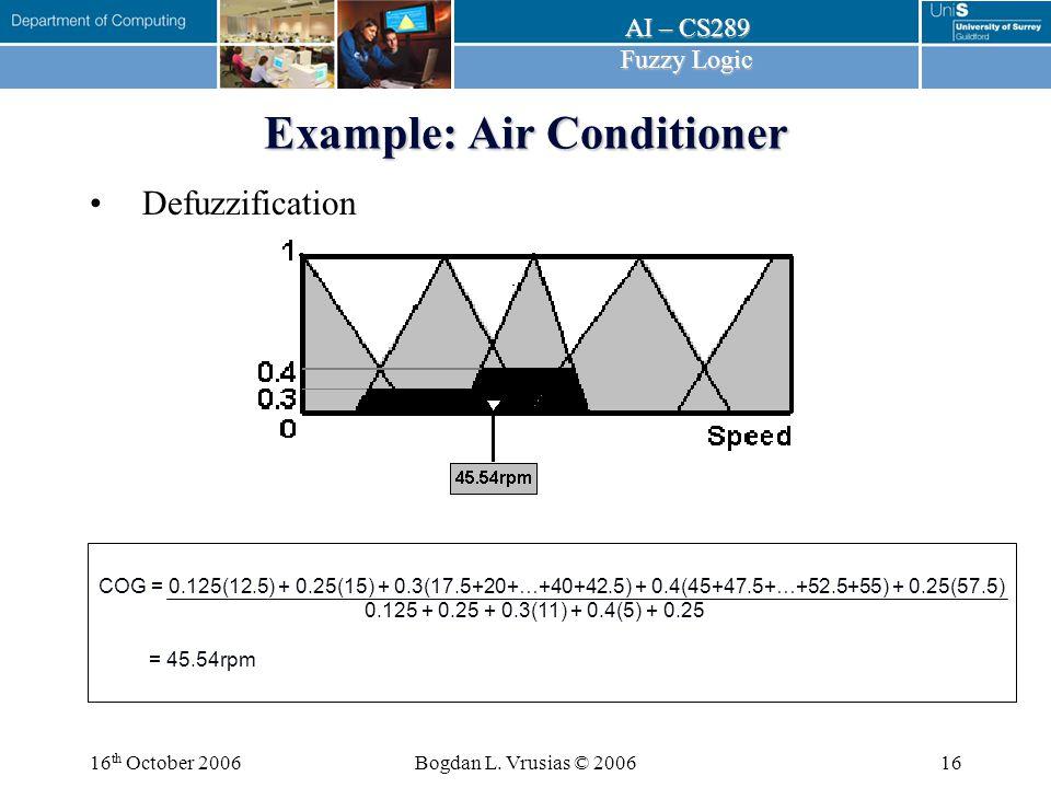 AI – CS289 Fuzzy Logic Fuzzy Tutorial 16 th October 2006 Dr Bogdan L