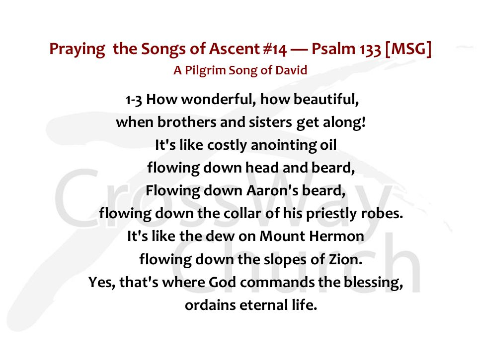 Dwelling Together in Unity Songs of Ascent: Practices of the