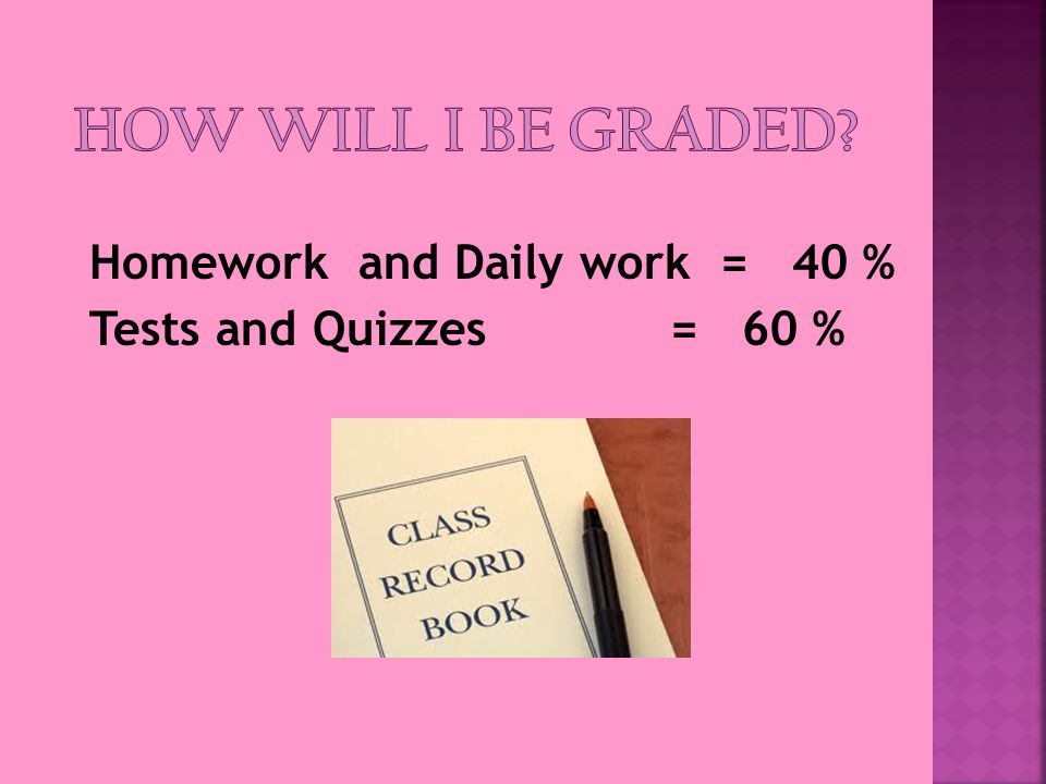 Homework and Daily work = 40 % Tests and Quizzes = 60 %