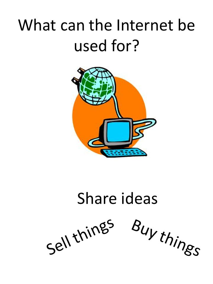 What can the Internet be used for Buy things Share ideas Sell things