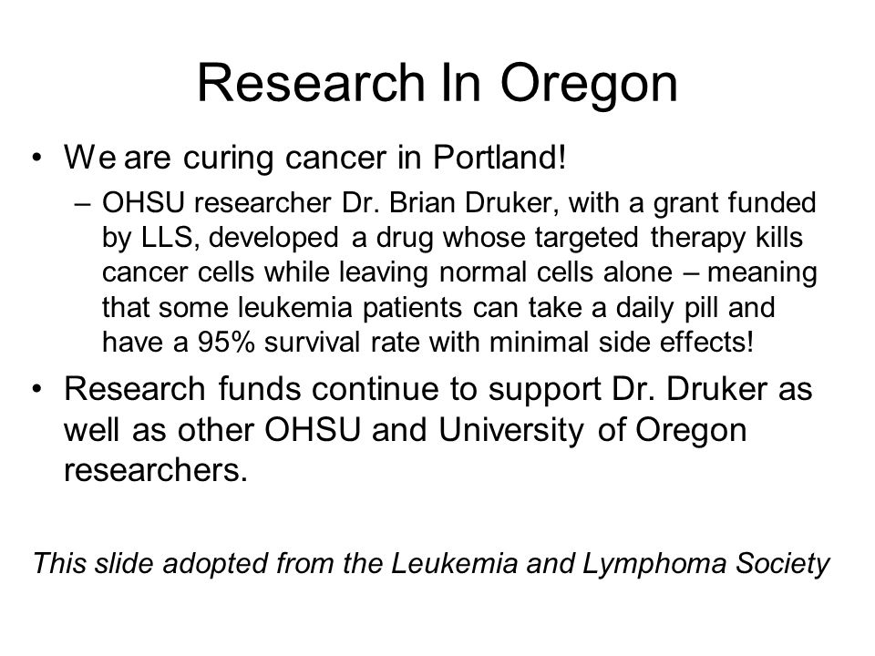 Research In Oregon We are curing cancer in Portland.
