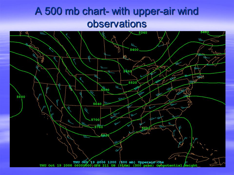 A 500 mb chart- with upper-air wind observations