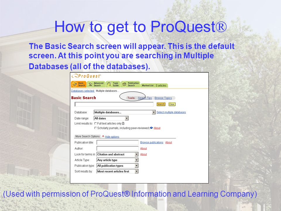 How to get to ProQuest ® Remember… when accessing ProQuest® remotely from off-campus, you will need to go to the OFF CAMPUS ACCESS screen (found under Databases).