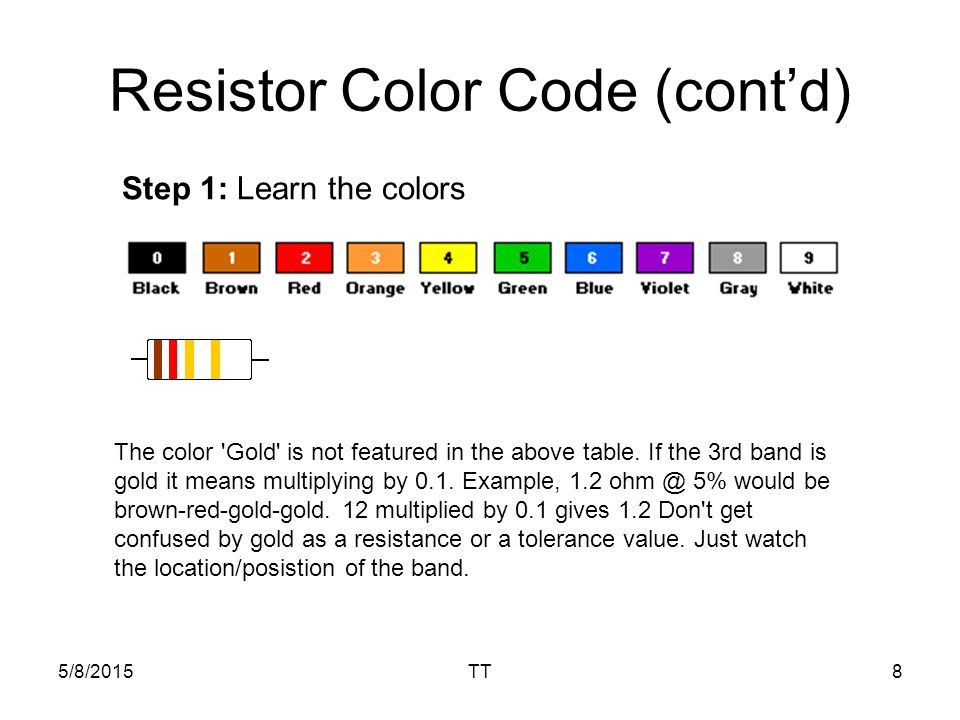 5/8/2015TT8 Resistor Color Code (cont'd) Step 1: Learn the colors The color Gold is not featured in the above table.