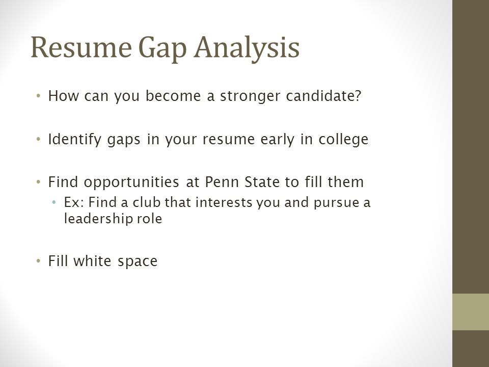 Resume Gap Analysis How can you become a stronger candidate.