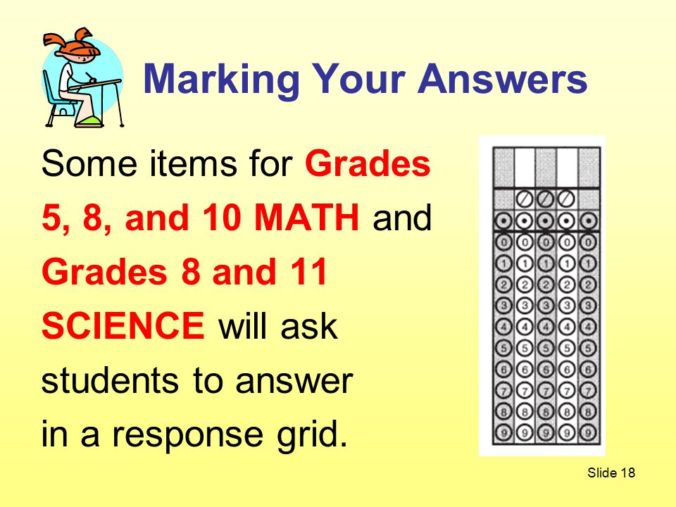 Slide 18 Some items for Grades 5, 8, and 10 MATH and Grades 8 and 11 SCIENCE will ask students to answer in a response grid.