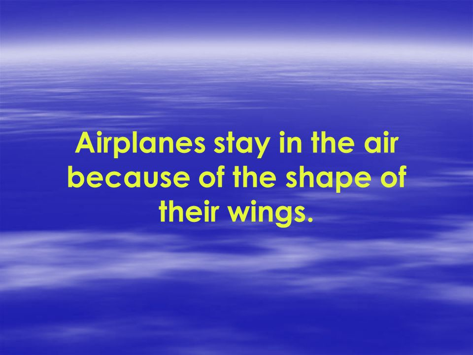 Airplanes stay in the air because of the shape of their wings.