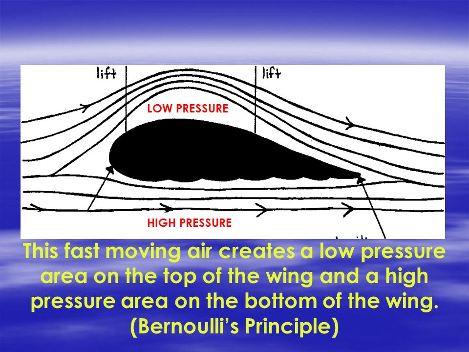 This fast moving air creates a low pressure area on the top of the wing and a high pressure area on the bottom of the wing.