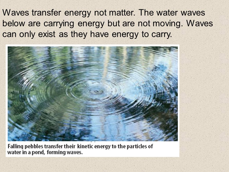 Waves transfer energy not matter. The water waves below are carrying energy but are not moving.
