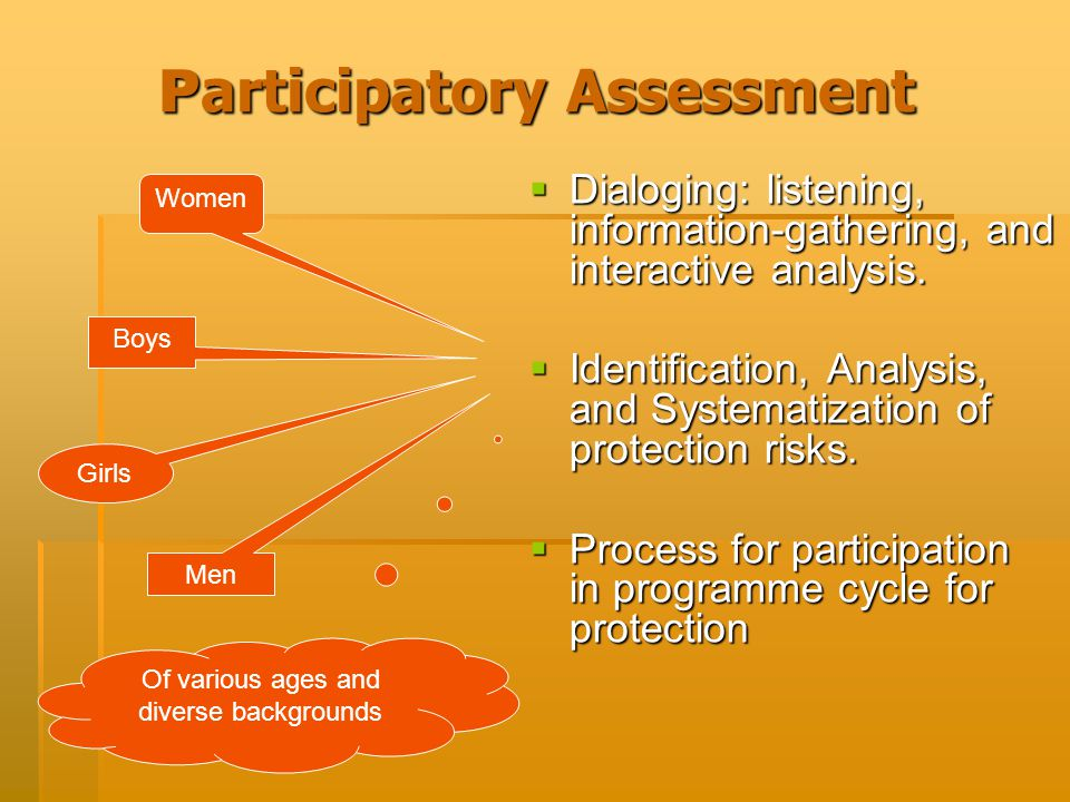 P articipatory Assessment  Dialoging: listening, information-gathering, and interactive analysis.