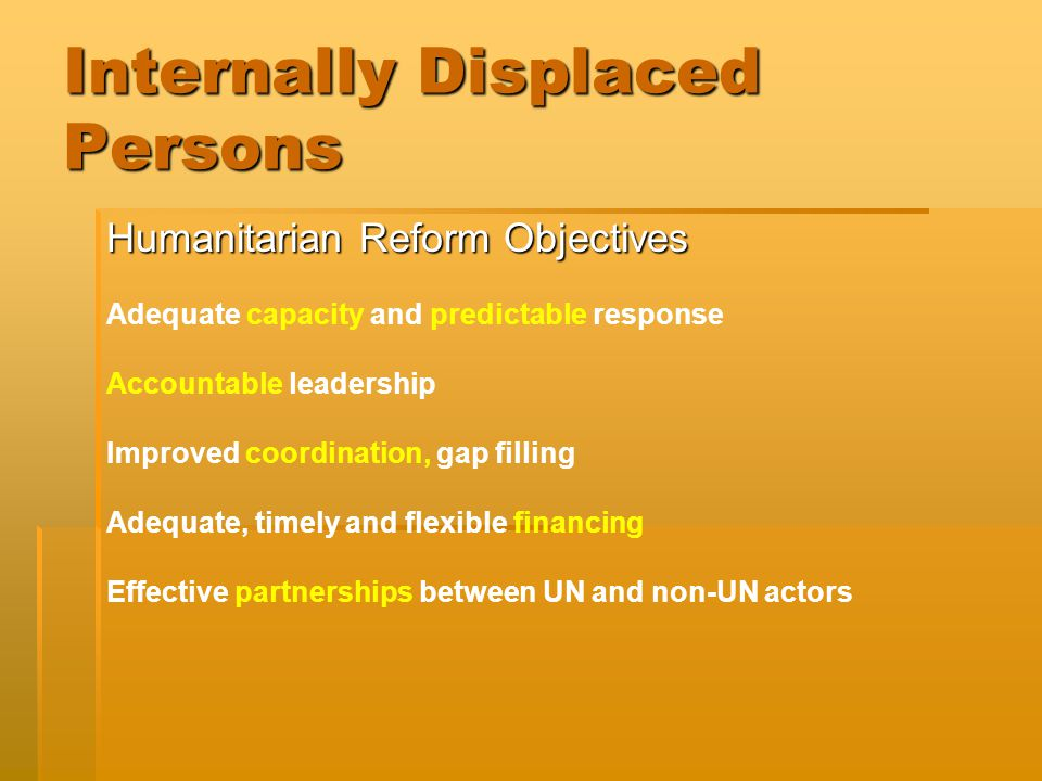 Internally Displaced Persons Humanitarian Reform Objectives Adequate capacity and predictable response Accountable leadership Improved coordination, gap filling Adequate, timely and flexible financing Effective partnerships between UN and non-UN actors