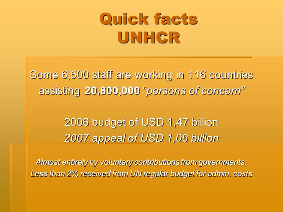 Quick facts UNHCR Some 6,500 staff are working in 116 countries assisting 20,800,000 persons of concern 2006 budget of USD 1,47 billion 2007 appeal of USD 1,06 billion Almost entirely by voluntary contributions from governments.