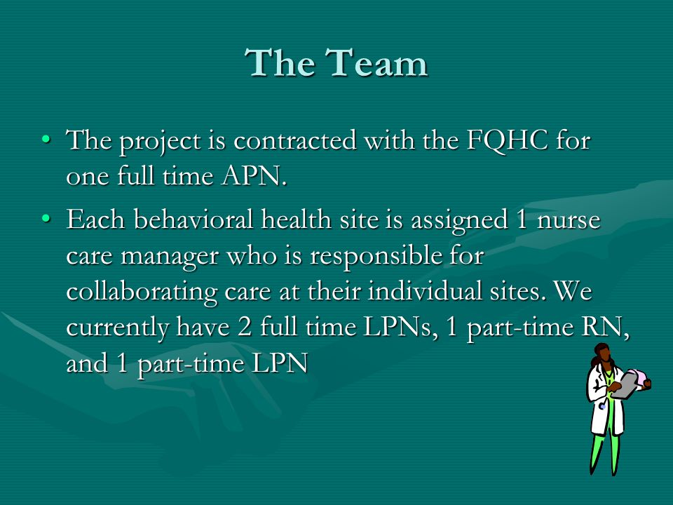 The Team The project is contracted with the FQHC for one full time APN.The project is contracted with the FQHC for one full time APN.