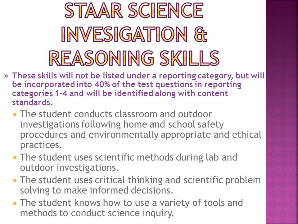  These skills will not be listed under a reporting category, but will be incorporated into 40% of the test questions in reporting categories 1-4 and will be identified along with content standards.