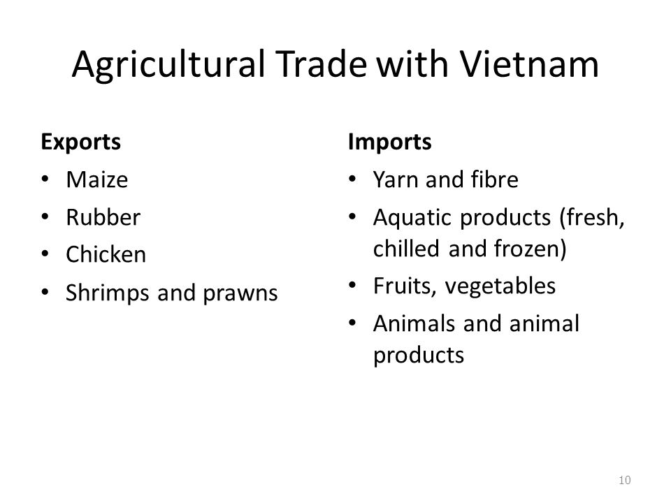 Agricultural Trade with Vietnam Exports Maize Rubber Chicken Shrimps and prawns Imports Yarn and fibre Aquatic products (fresh, chilled and frozen) Fruits, vegetables Animals and animal products 10