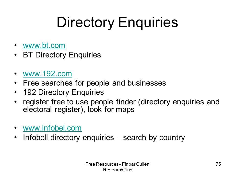 Free Resources - Finbar Cullen ResearchPlus 1 Free Resources