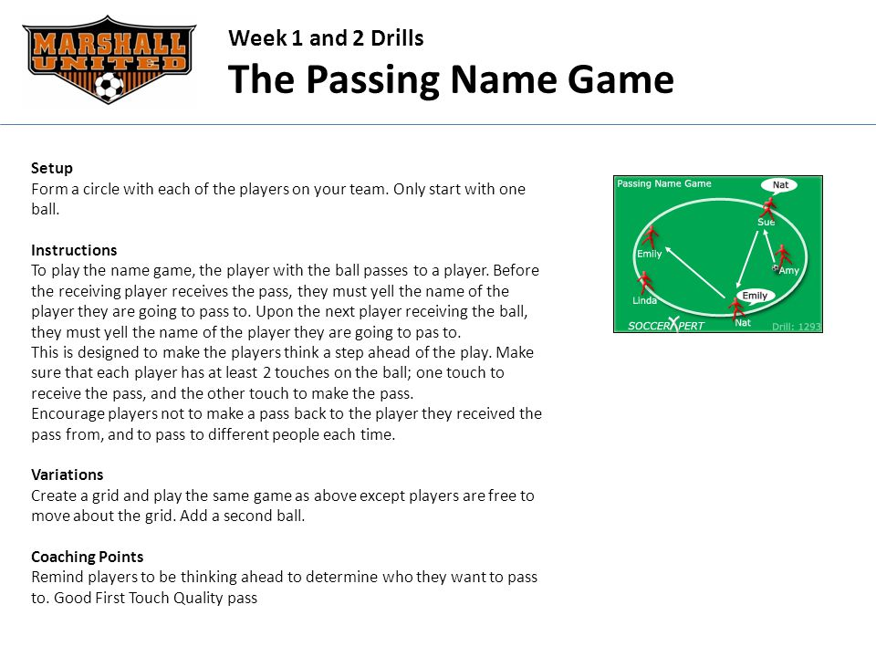 Week 1 and 2 Drills The Passing Name Game Setup Form a circle with each of the players on your team.