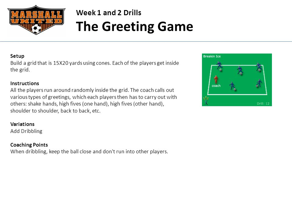 Week 1 and 2 Drills The Greeting Game Setup Build a grid that is 15X20 yards using cones.