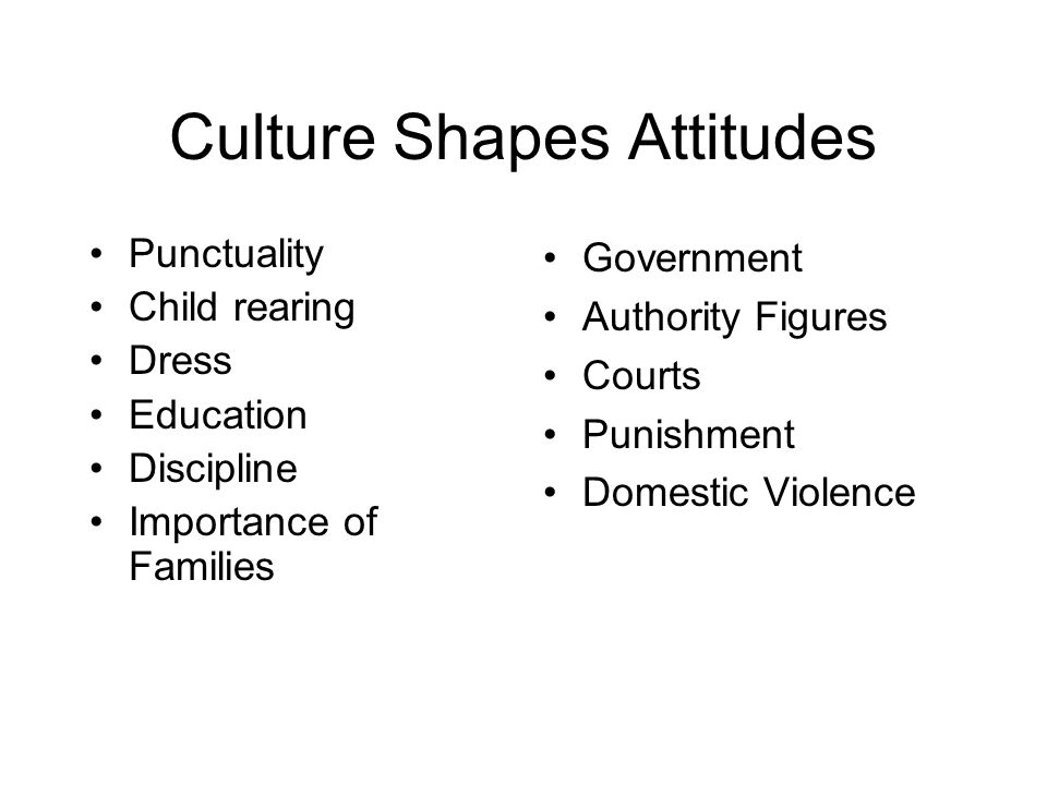 Culture Shapes Attitudes Punctuality Child rearing Dress Education Discipline Importance of Families Government Authority Figures Courts Punishment Domestic Violence
