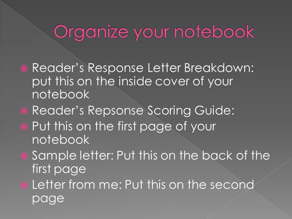  Reader's Response Letter Breakdown: put this on the inside cover of your notebook  Reader's Repsonse Scoring Guide:  Put this on the first page of your notebook  Sample letter: Put this on the back of the first page  Letter from me: Put this on the second page