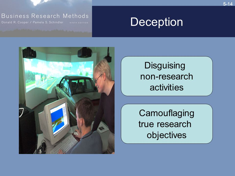 5-14 Deception Disguising non-research activities Camouflaging true research objectives