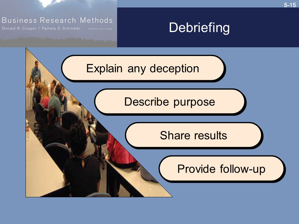 5-15 Debriefing Explain any deception Describe purpose Share results Provide follow-up