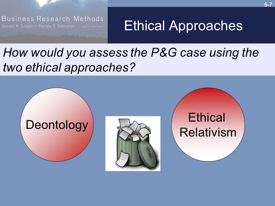 5-7 Ethical Approaches Ethical Relativism Deontology How would you assess the P&G case using the two ethical approaches