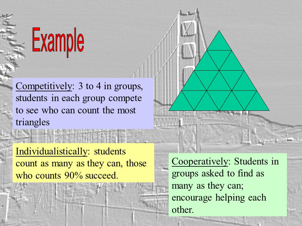 Competitively: 3 to 4 in groups, students in each group compete to see who can count the most triangles Individualistically: students count as many as they can, those who counts 90% succeed.