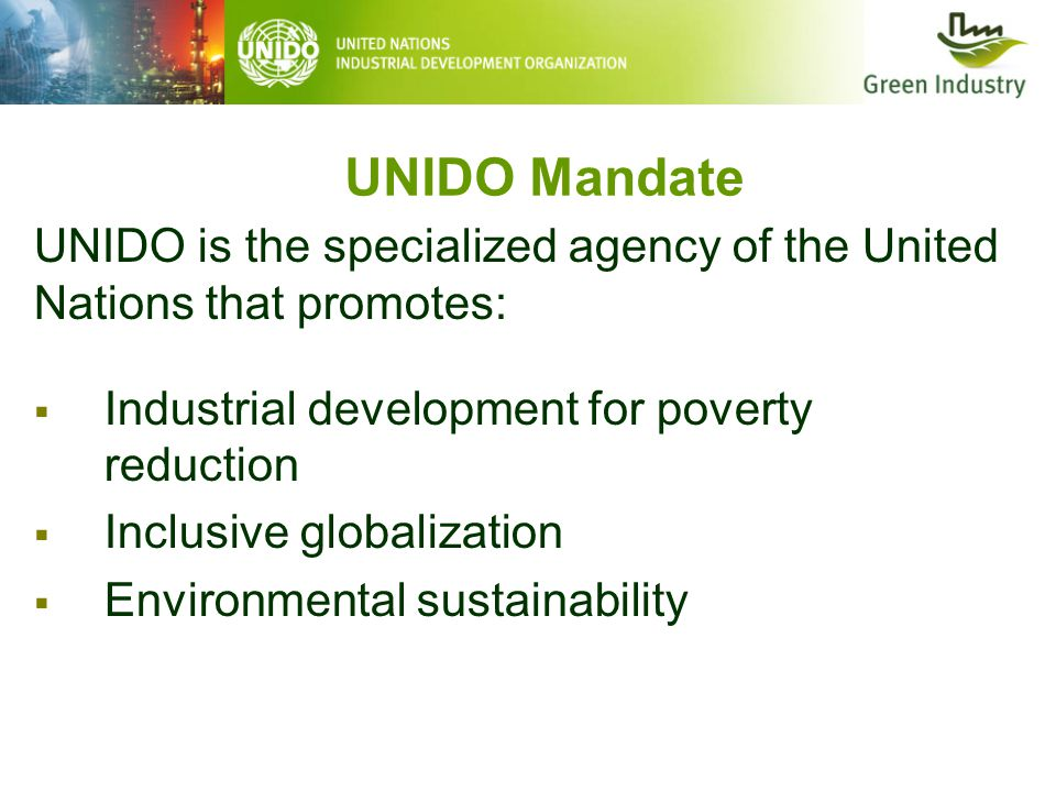 UNIDO Mandate UNIDO is the specialized agency of the United Nations that promotes:  Industrial development for poverty reduction  Inclusive globalization  Environmental sustainability