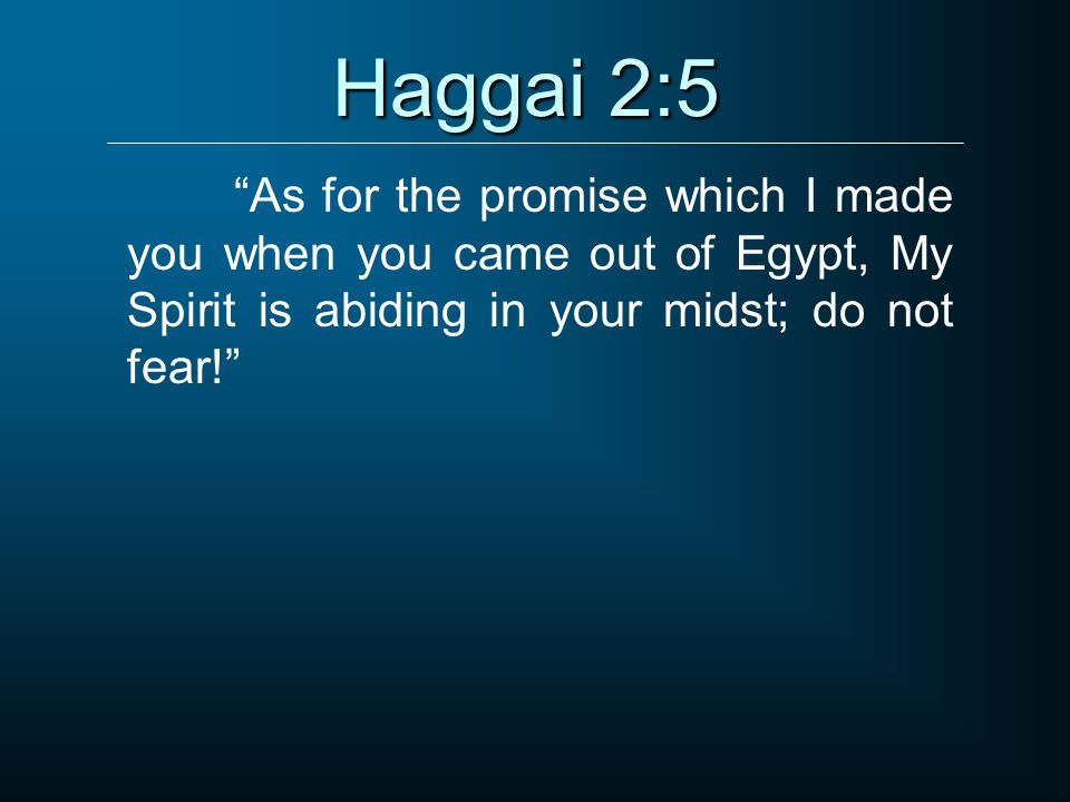 Haggai 2:5 As for the promise which I made you when you came out of Egypt, My Spirit is abiding in your midst; do not fear!