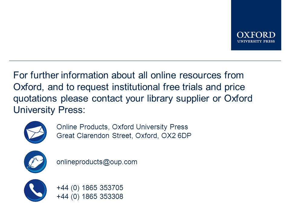 You can see similar presentations on other Oxford University Press online resources in the Librarian Resource Centre