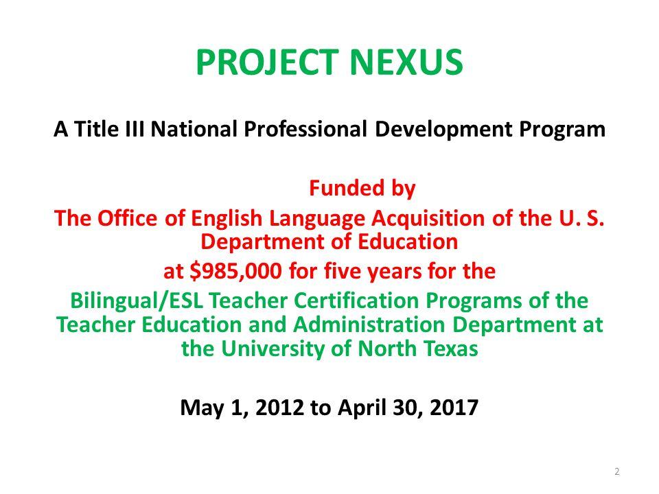 project nexus a title iii national professional development program ...