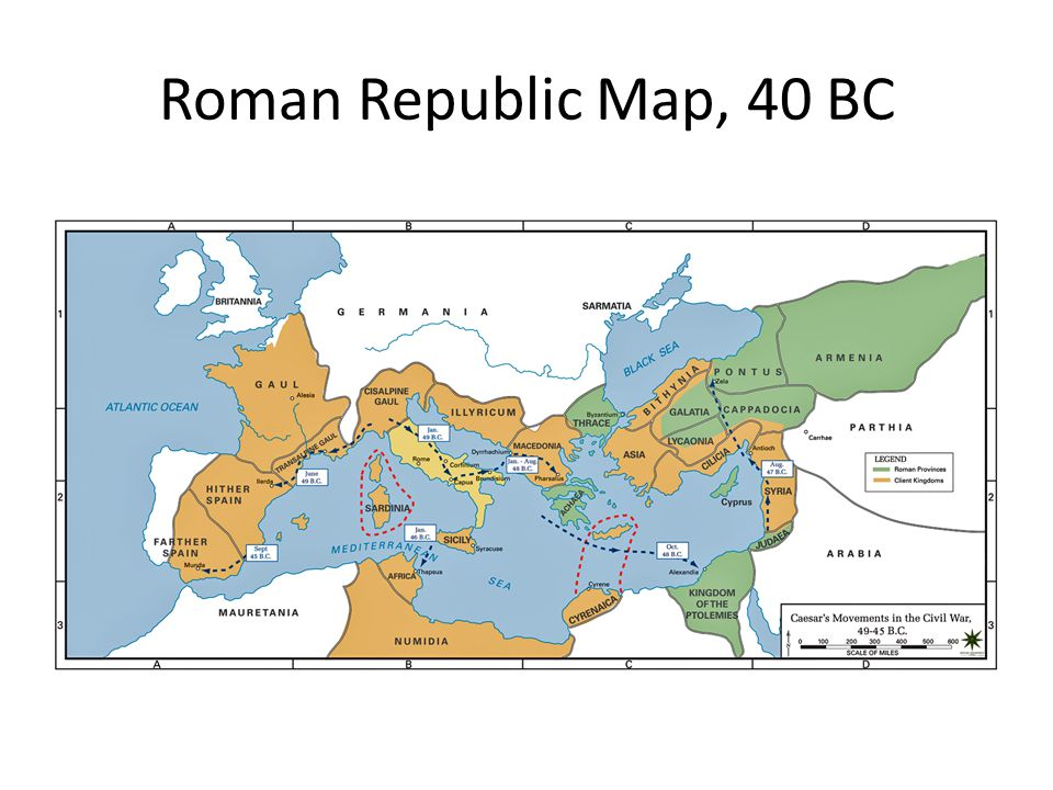 Late Roman Republic. Roman Republic Map, 40 BC Wars after Punic Wars on