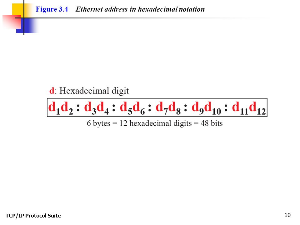 TCP/IP Protocol Suite 10 Figure 3.4 Ethernet address in hexadecimal notation