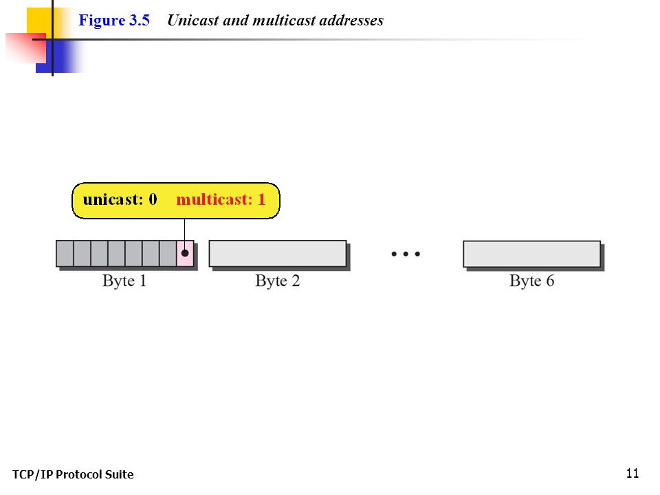 TCP/IP Protocol Suite 11 Figure 3.5 Unicast and multicast addresses