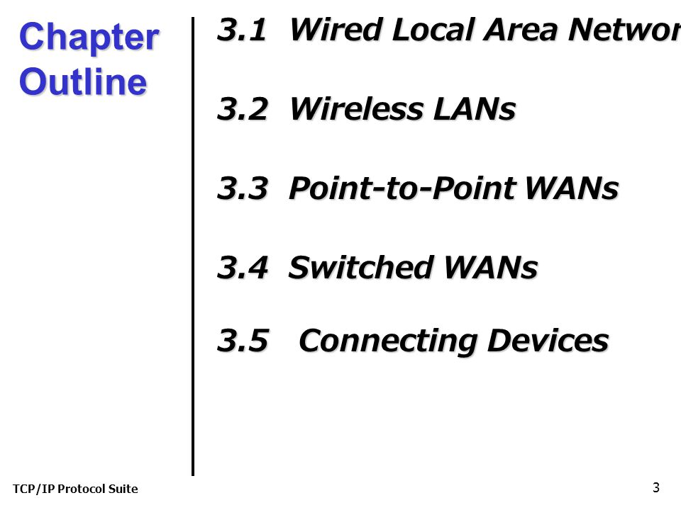 TCP/IP Protocol Suite 3 Chapter Outline 3.1 Wired Local Area Network 3.2 Wireless LANs 3.3 Point-to-Point WANs 3.4 Switched WANs 3.5 Connecting Devices