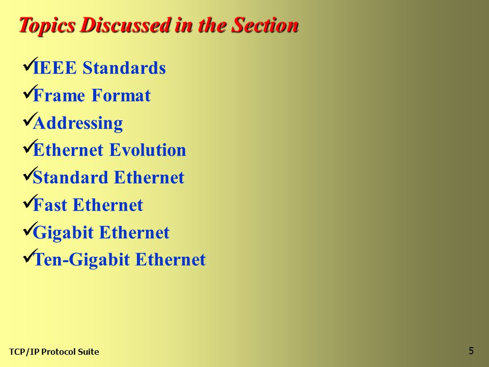 TCP/IP Protocol Suite 5 Topics Discussed in the Section IEEE Standards Frame Format Addressing Ethernet Evolution Standard Ethernet Fast Ethernet Gigabit Ethernet Ten-Gigabit Ethernet