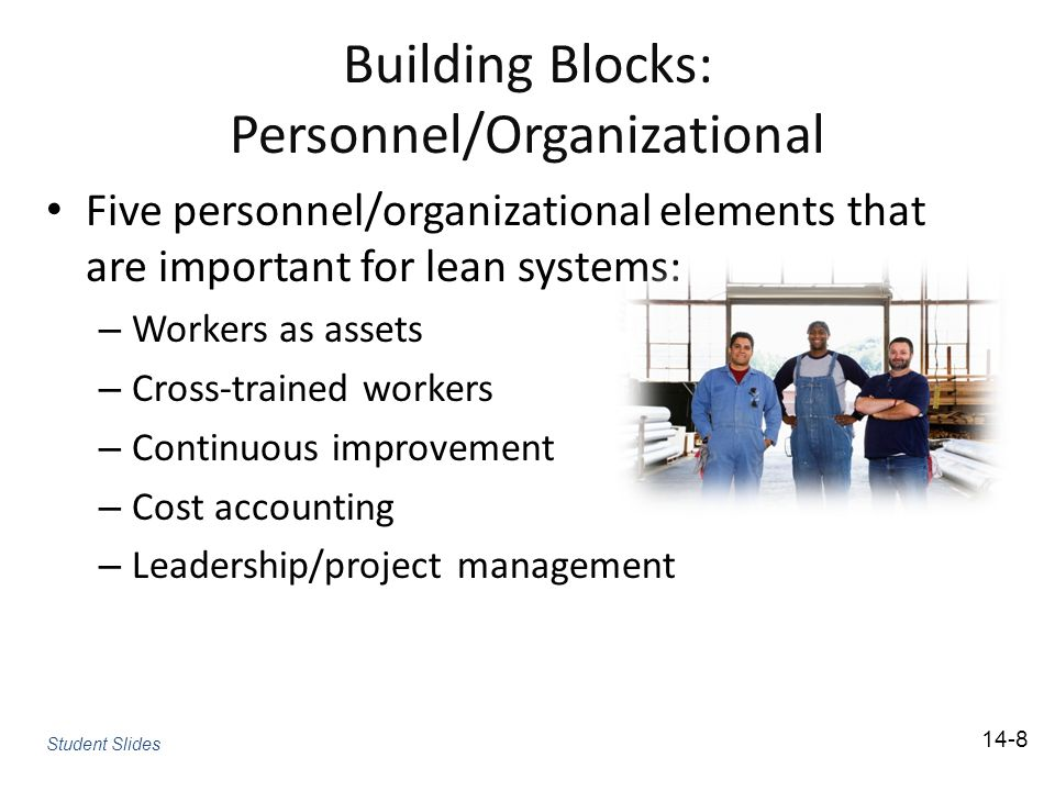 Building Blocks: Personnel/Organizational Five personnel/organizational elements that are important for lean systems: – Workers as assets – Cross-trained workers – Continuous improvement – Cost accounting – Leadership/project management Student Slides 14-8