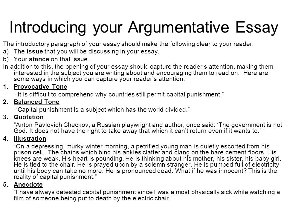 Argumentative Essay Structuring Your Essay Argumentative Essay