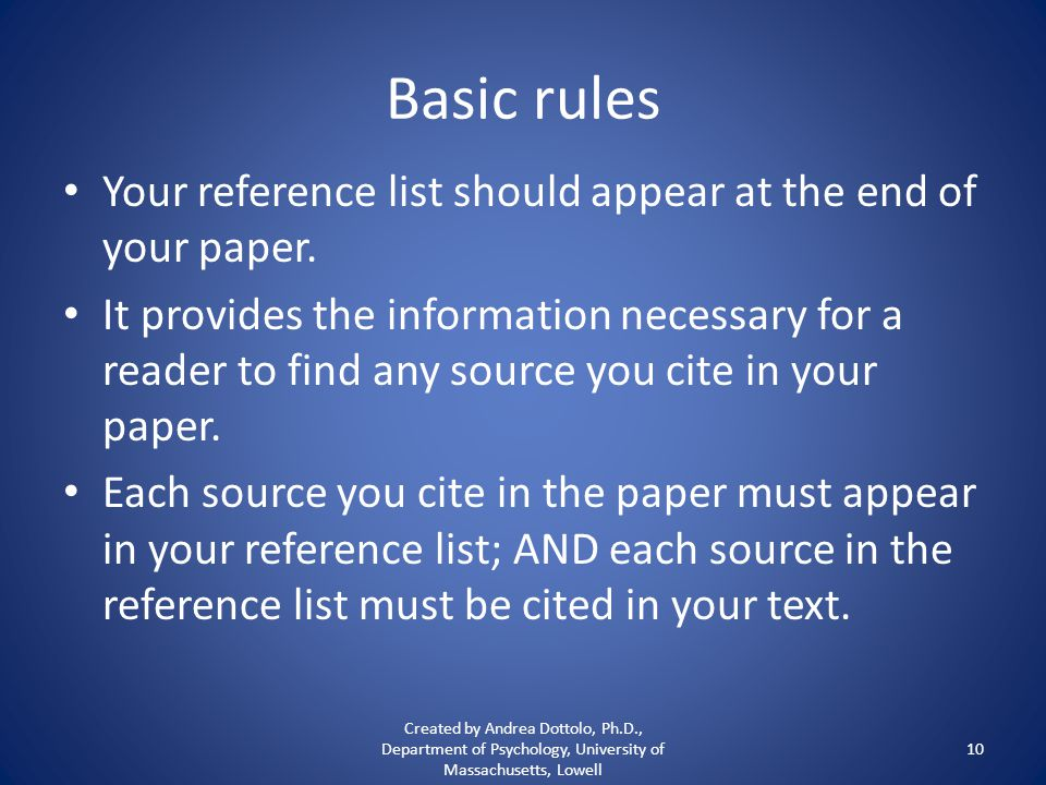 Basic rules Your reference list should appear at the end of your paper.