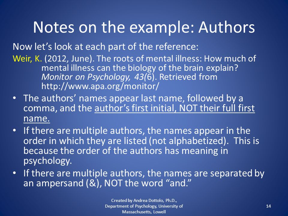 Notes on the example: Authors Now let's look at each part of the reference: Weir, K.