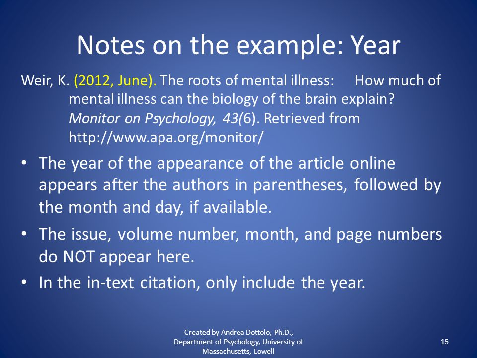 Notes on the example: Year Weir, K. (2012, June).