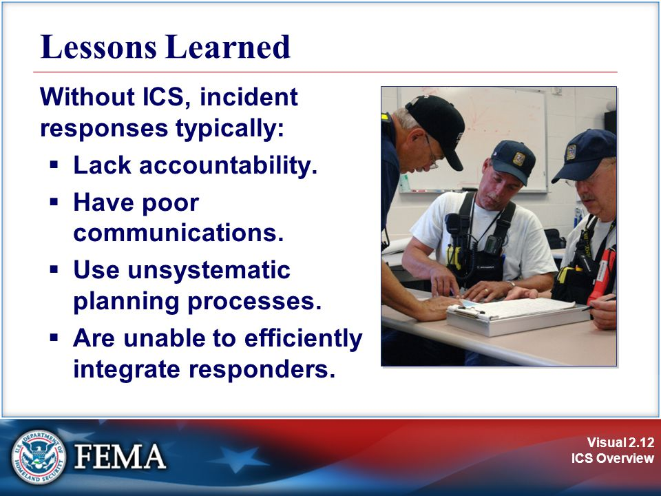 Visual 2.12 ICS Overview Lessons Learned Without ICS, incident responses typically:  Lack accountability.