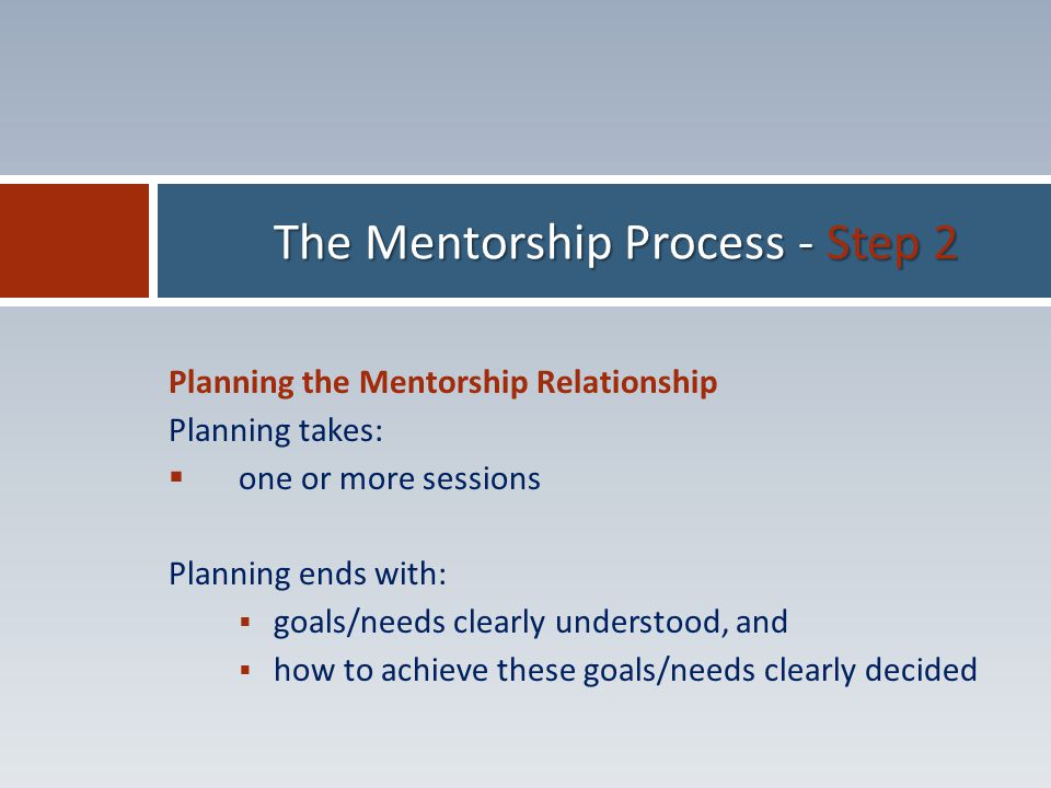 Planning the Mentorship Relationship Planning takes:  one or more sessions Planning ends with:  goals/needs clearly understood, and  how to achieve these goals/needs clearly decided The Mentorship Process - Step 2