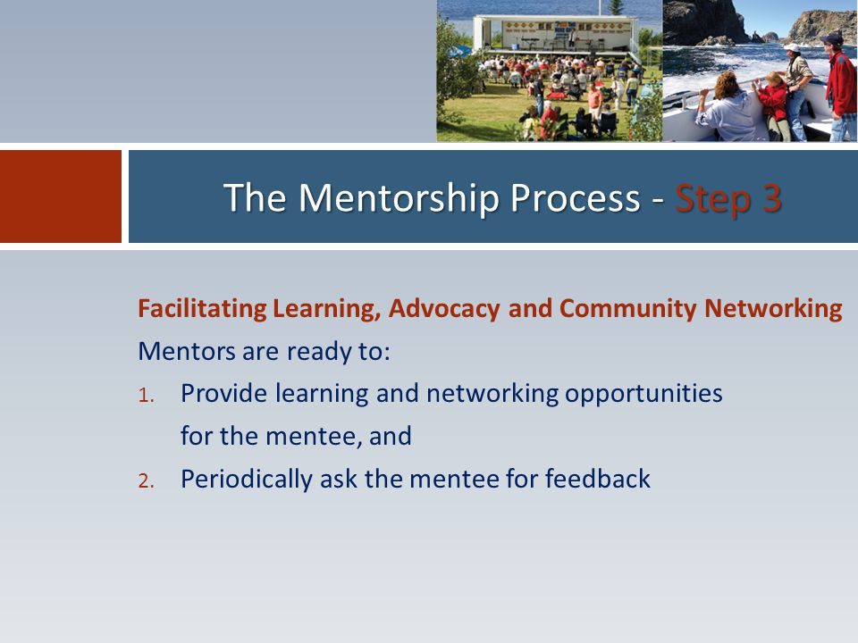 Facilitating Learning, Advocacy and Community Networking Mentors are ready to: 1.