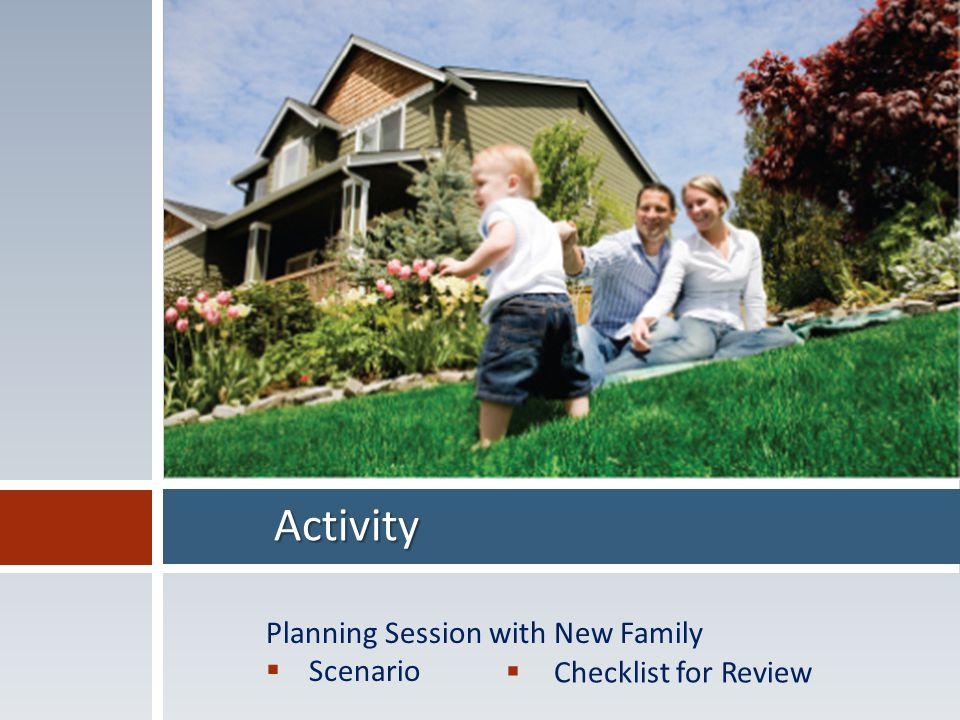 Activity Planning Session with New Family  Scenario  Checklist for Review