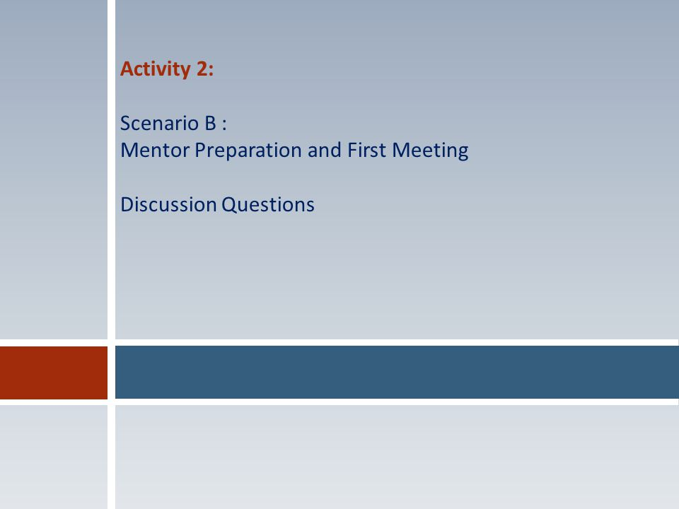 Activity 2: Scenario B : Mentor Preparation and First Meeting Discussion Questions